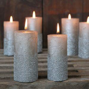 glitter kynttilä vaalea
