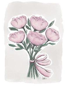 vaaleanpunainen pionikimppu